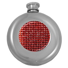 Deep Red Sparkle Bling Hip Flask (Round)