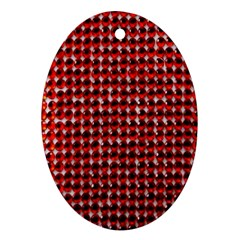 Deep Red Sparkle Bling Oval Ornament (Two Sides)