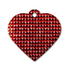 Deep Red Sparkle Bling Single Sided Dog Tag (heart)