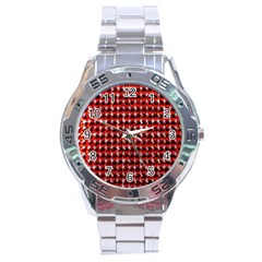 Deep Red Sparkle Bling Stainless Steel Analogue Watch (round)