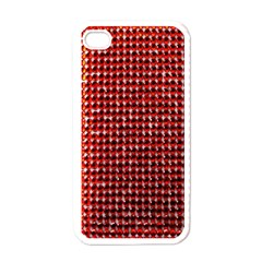 Deep Red Sparkle Bling White Apple Iphone 4 Case