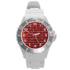 Deep Red Sparkle Bling Round Plastic Sport Watch Large