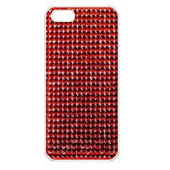 Deep Red Sparkle Bling Apple iPhone 5 Seamless Case (White)
