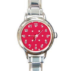 Red Diamond Bling  Classic Elegant Ladies Watch (Round)