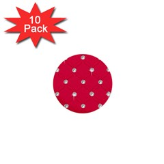 Red Diamond Bling  10 Pack Mini Button (round)