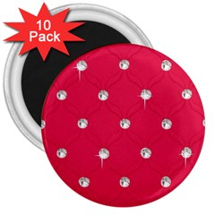 Red Diamond Bling  10 Pack Large Magnet (Round)