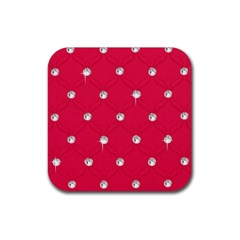 Red Diamond Bling  4 Pack Rubber Drinks Coaster (Square)