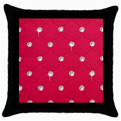 Red Diamond Bling  Black Throw Pillow Case
