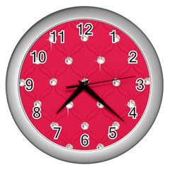 Red Diamond Bling  Silver Wall Clock