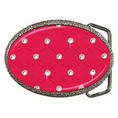 Red Diamond Bling  Belt Buckle (Oval)