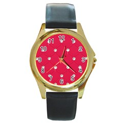 Red Diamond Bling  Black Leather Gold Rim Watch (Round)