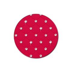 Red Diamond Bling  Rubber Drinks Coaster (Round)
