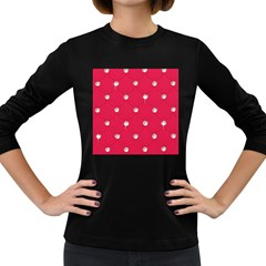Red Diamond Bling  Dark Colored Long Sleeve Womens'' T-shirt