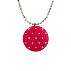 Red Diamond Bling  Mini Button Necklace
