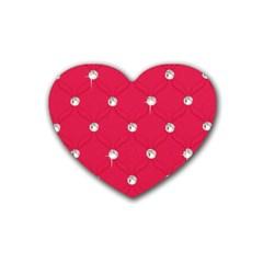 Red Diamond Bling  Rubber Drinks Coaster (Heart)