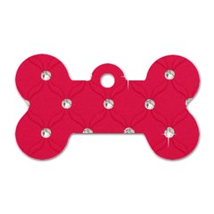 Red Diamond Bling  Single Sided Dog Tag (bone)