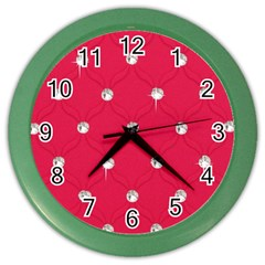 Red Diamond Bling  Colored Wall Clock