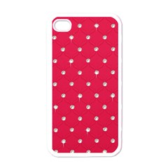 Red Diamond Bling  White Apple iPhone 4 Case