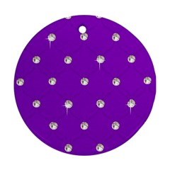 Royal Purple Sparkle Bling Ceramic Ornament (round)