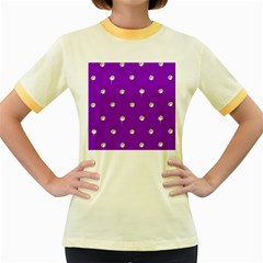 Royal Purple Sparkle Bling Colored Ringer Womens  T-shirt