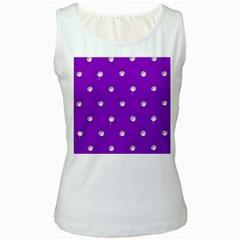 Royal Purple Sparkle Bling White Womens  Tank Top