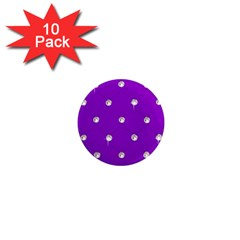 Royal Purple Sparkle Bling 10 Pack Mini Magnet (round)