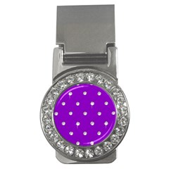 Royal Purple Sparkle Bling Money Clip With Gemstones (round)