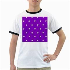 Royal Purple Sparkle Bling White Ringer Mens'' T-shirt