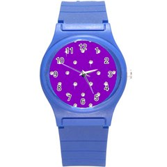 Royal Purple Sparkle Bling Round Plastic Sport Watch Small