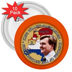 King Willem Alexander 10 Pack Large Button (round)
