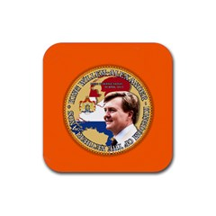 King Willem Alexander Rubber Drinks Coaster (square)