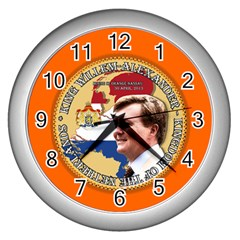 King Willem-Alexander Silver Wall Clock
