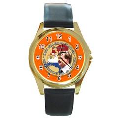 King Willem-Alexander Black Leather Gold Rim Watch (Round)