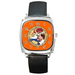 King Willem-Alexander Black Leather Watch (Square)