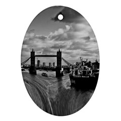 River Thames Waterfall Ceramic Ornament (oval)