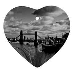 River Thames Waterfall Ceramic Ornament (heart)