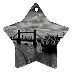 River Thames Waterfall Ceramic Ornament (star)