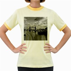 River Thames Waterfall Colored Ringer Womens  T Shirt