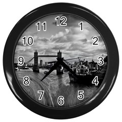 River Thames Waterfall Black Wall Clock