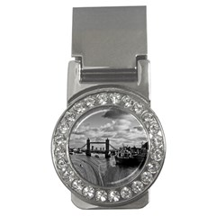 River Thames Waterfall Money Clip with Gemstones (Round)