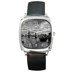 River Thames Waterfall Black Leather Watch (Square)