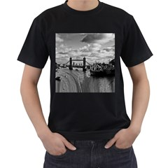 River Thames Waterfall Twin-sided Black Mens'' T-shirt