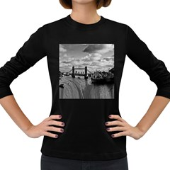 River Thames Waterfall Dark Colored Long Sleeve Womens'' T-shirt