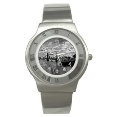 River Thames Waterfall Stainless Steel Watch (round)