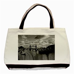 River Thames Waterfall Black Tote Bag