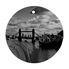 River Thames Waterfall Twin-sided Ceramic Ornament (Round)