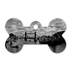 River Thames Waterfall Twin-sided Dog Tag (Bone)