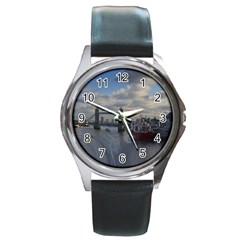 Thames Waterfall Color Black Leather Watch (Round)