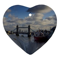 Thames Waterfall Color Ceramic Ornament (heart)