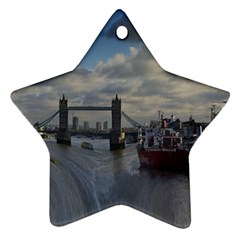 Thames Waterfall Color Ceramic Ornament (Star)